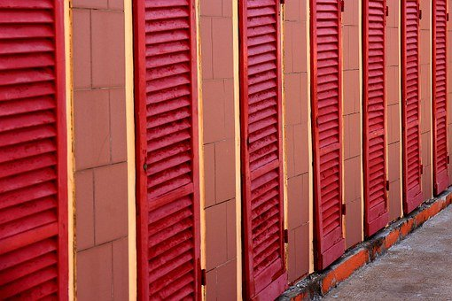 Red, Strandbad, Cabins, Shutters, Changing Rooms