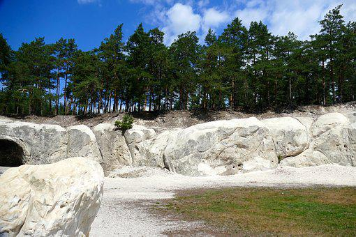 Landscape, Sand Stone, Feuerland, Trees, Sky, Clouds