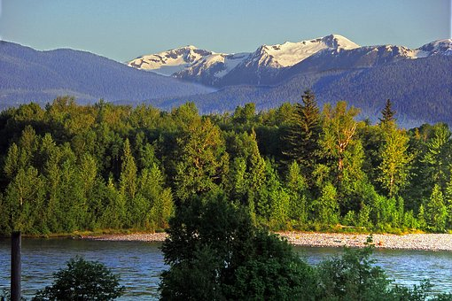 Snow Capped Mountains, Rivers, Forest