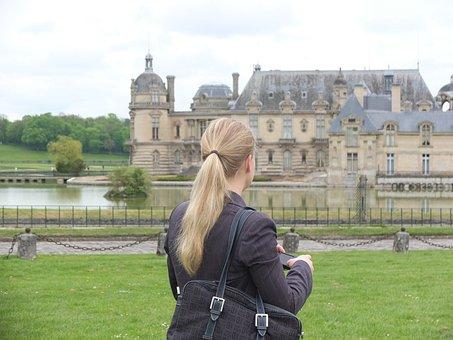 Paris, Chantilly, Castle, France, Woman, Blond, Move