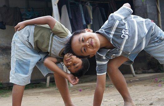 Rascals, Children, Play, Fun, Funny, Serene, Cheerful