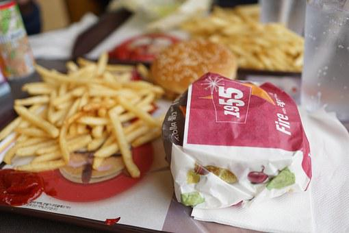 Burger, French Fries, Burger Set, Lunch, Delicious Food