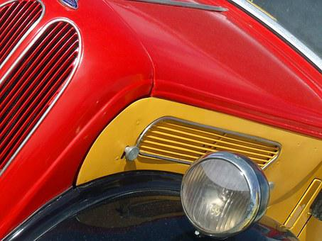 Old Truck, Abstract, Front, Red, Yellow, Vintage Truck