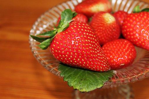 Strawberries, Fruit Bowl, Shell, Glass Bowl, Leaf