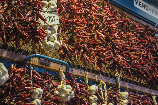 Chili, Garlic, Market, Hungary, Budapest, Eat, Sharp