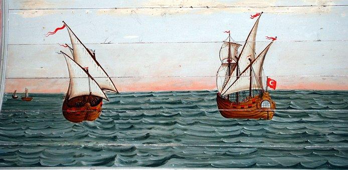 Motor Sailers, Ships, The Framework, Sea, Painting