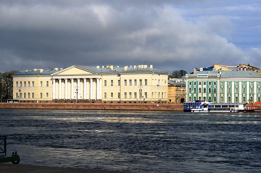 Building, Pale Yellow And White, Light Green And White