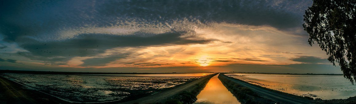 Panoramic Sunset, Seascape, Twilight, Horizon, Sunset