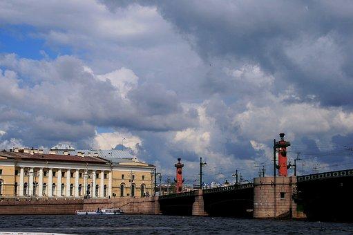River, Neva, Buildings, Rostral Columns