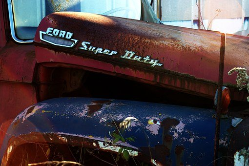 Salvage Yard, Car, Wreck, Vintage, Old, Broken, Red