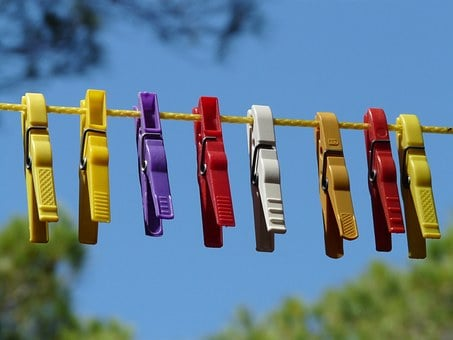 Clothespins, Clothes Line, Dry, Sky, Wash, Laundry