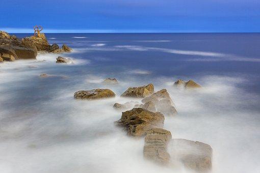 Ocean, Spain, Coast, Shore, Rocks, Shutter Speed, Slow