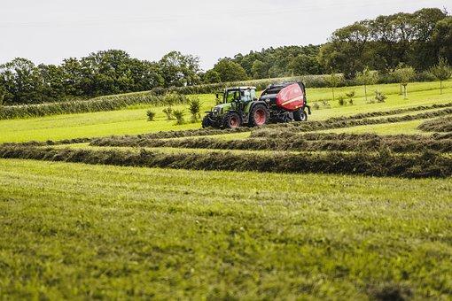 Agriculture, Tractor, Round Bales, Press, Round Baler