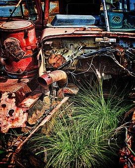 Equipment, Yellow, Used, Boneyard, Junk, Rust