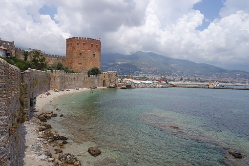 Fortress, Alanya, Red Tower, Wall, Old, Sea, Castle