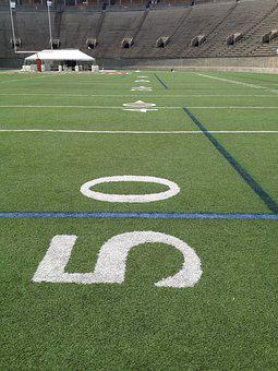 The, 50, Yard Line, Football, Sport, Field, Stadium