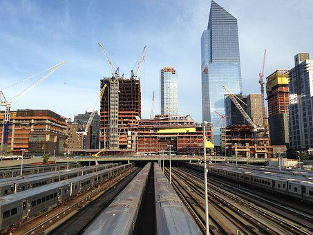 Train Yard, Skyline, City, Urban, Transport