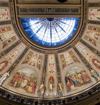 Ceiling, Congress, Madrid, Fresh, Painting, Light
