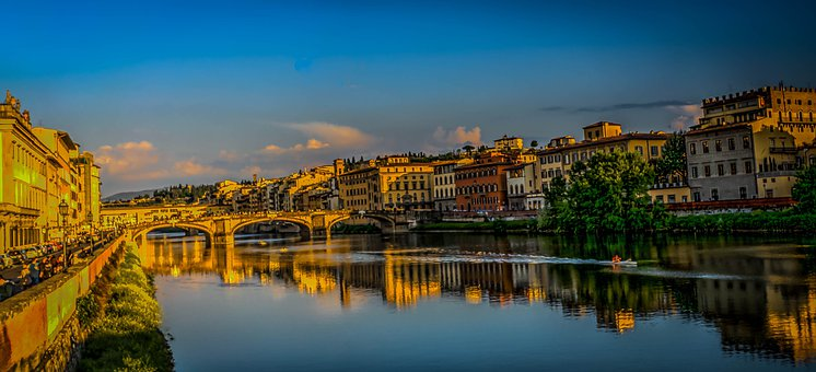 Florence, Italy, Ponte Vecchio, Clouds, Architecture