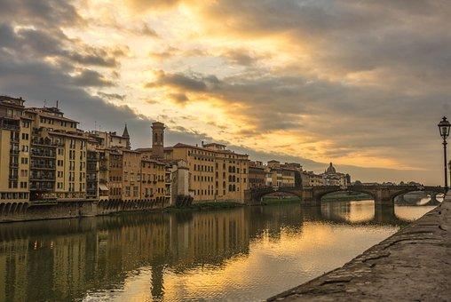 Florence, Italy, Arno River, Sunset, Reflection, Europe