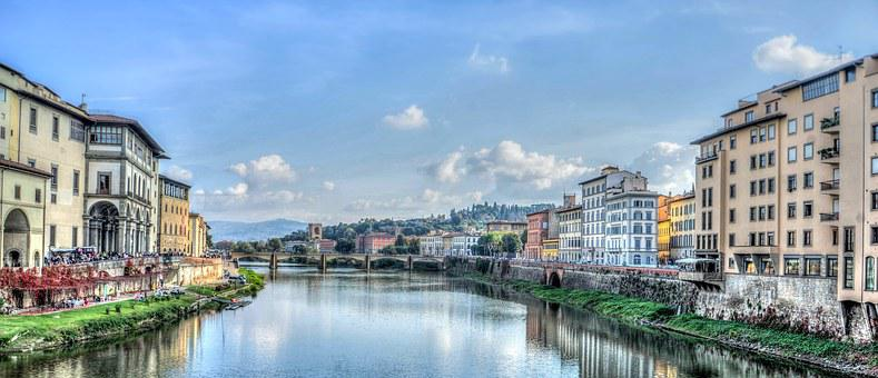 Florence, Italy, Arno River, Europe, Firenze
