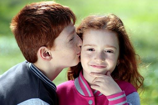Brother, Sister, Red Hair, Freckles, Kiss, Love, Pair
