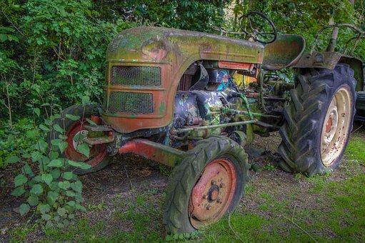 Tractor, Hdr, Moss, Grass, Green, Old, Defect