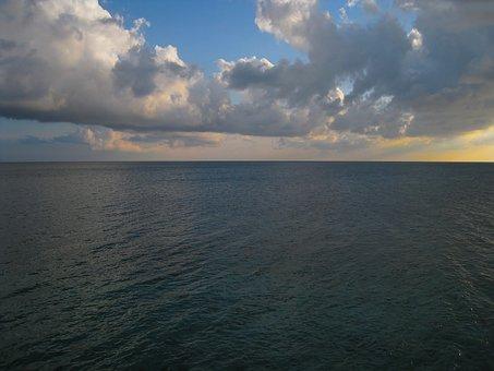 Evening, Dynamic, Ripples, Coral Reefs, Sea, Horizon