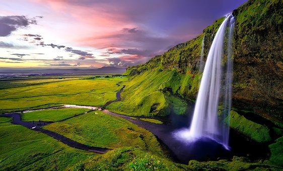 Seljalandsfoss, Waterfall, Iceland, Falls, Cliff, Water