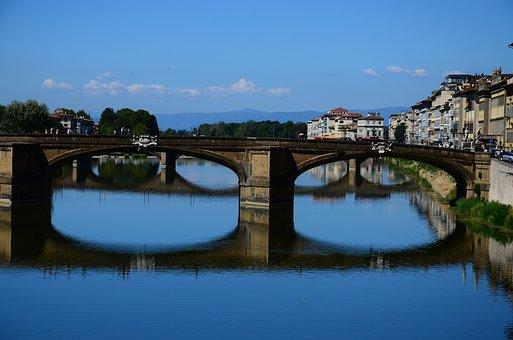 Florence, Italy, Bridge, River, Arno, Renaissance
