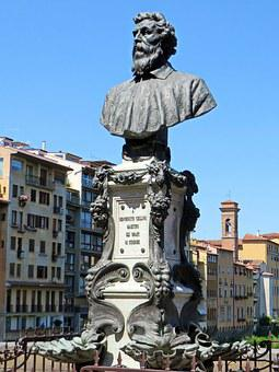 Italy, Florence, Ponte Vecchio, Statue, Goldsmith