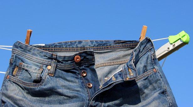 Clothes Line, Jeans, Pants, Dry, Outdoor, Clothes Peg