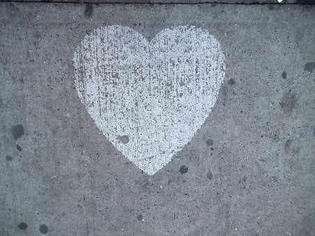 Heart, Sidewalk, Love, Street, Chalk, Valentine