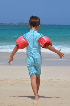 Boy, Beach, Sea, Rubber Rings, Uv Suit, Child, People