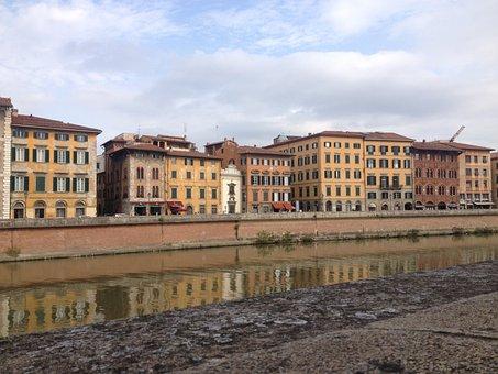Pisa, Italy, City, River, Autumn, Toscany, Cities