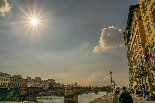 Ponte Vecchio, Florence, Italy, Arno River, People