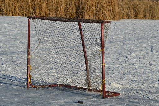 Hockey Net, Outdoor, Puck, Sport, Frozen, Pond, Goal