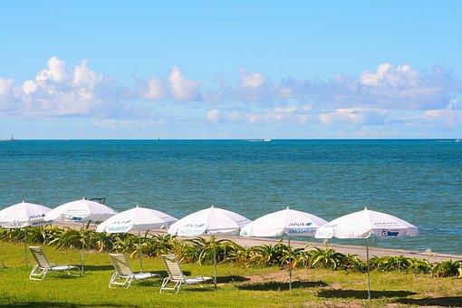 Sea, Emerald Green, White, Parasol, Coast, Resort