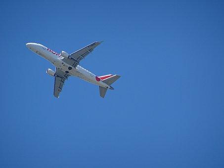 Aircraft, Start, Departure, Sky, Blue, Engine