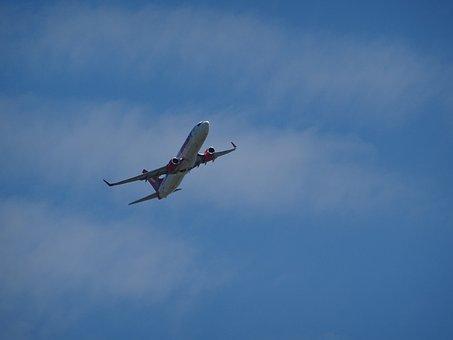 Aircraft, Start, Departure, Clouds, Sky