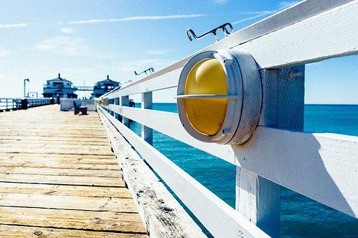 Lamp, Jetty, Wooden, Pier, Banister, Ocean, Sea, Summer