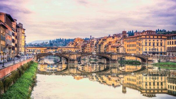 Ponte Vecchio, Florence, Italy, Arno River, Sunset