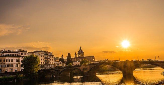 Florence, Italy, Ponte Vecchio, Sunset, Lense Flare