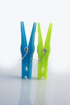 Clothes Peg, Was, Household, Green, Blue, Wash