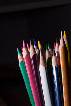 Colored Pencils, Wooden Pegs, Pens, Colorful, Color