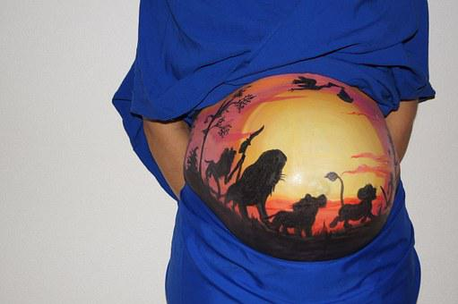 Belly Painting, Lion King, Pregnant, Baby, Bellypaint