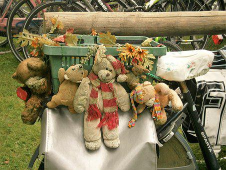 Bear, Bicycle, Bike Bag, Basket, Decoration