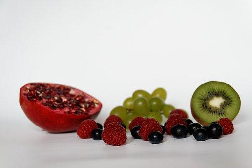 Blueberries, Raspberries, Grapes, Kiwi, Pomegranate