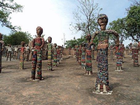 Chandigarh, India, Rock Garden, Painted, Figures