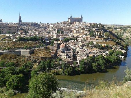 Toledo, Spain, Castle, Valley, Medieval, Building